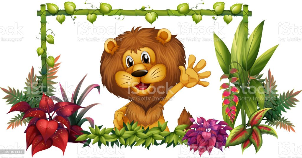 Lion in a colorful frame royalty-free stock vector art
