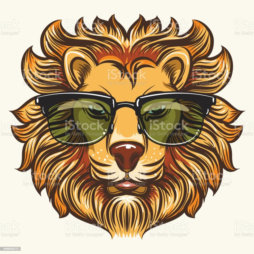 Lion in glasses in cartoon style vector art illustration