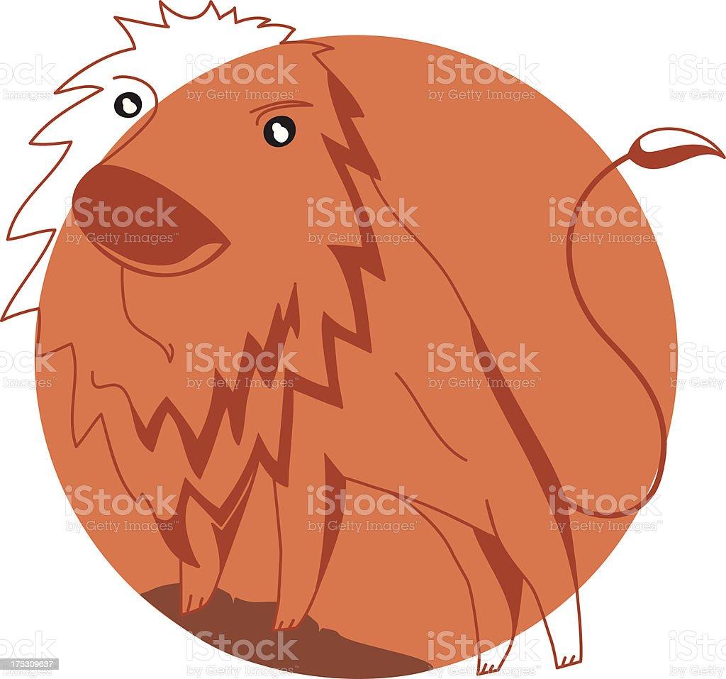 lion in orange royalty-free stock vector art