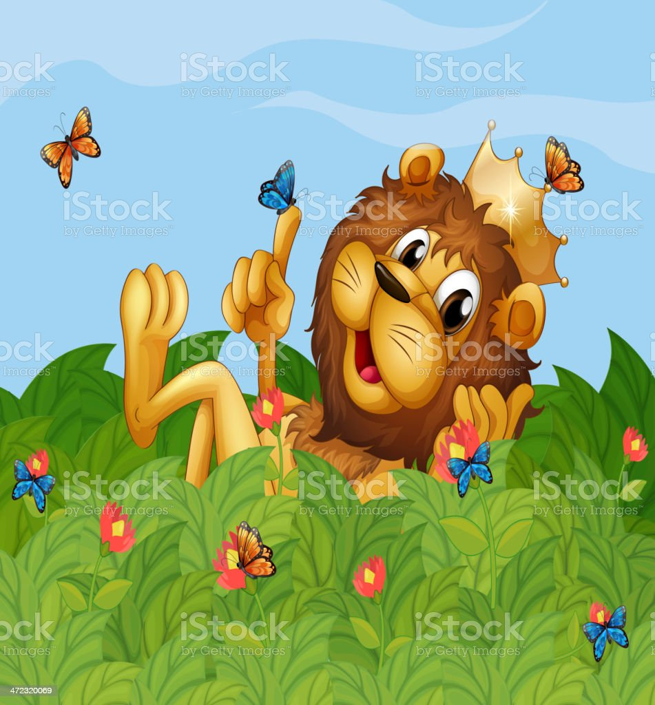 lion in the garden with butterflies royalty-free stock vector art