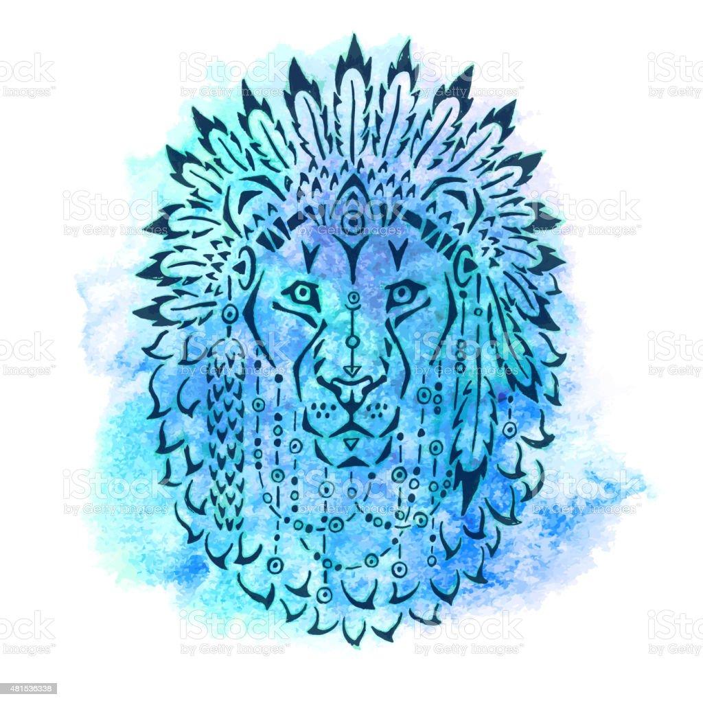 Lion in war bonnet, hand drawn animal illustration vector art illustration