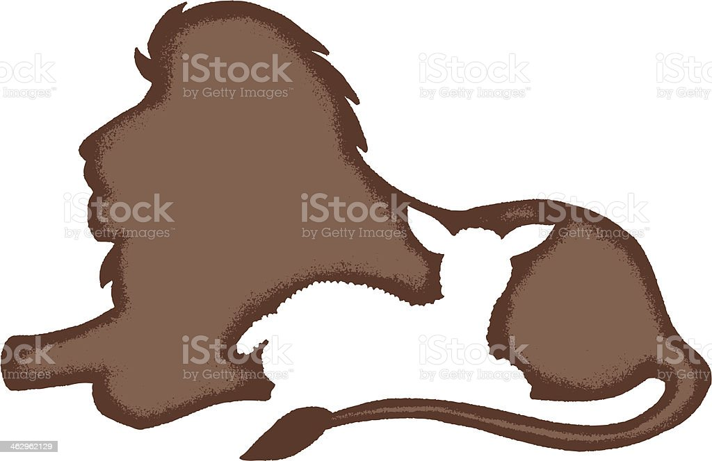 lion laying with a lamb vector art illustration