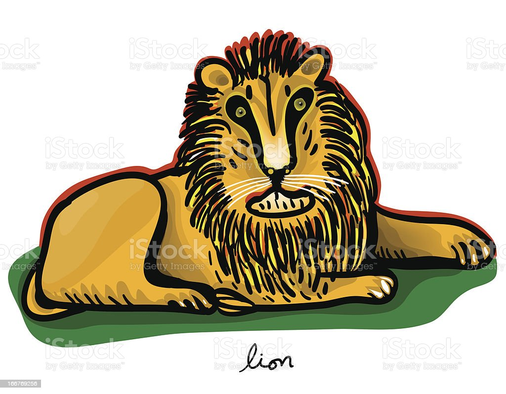 lion  lying royalty-free stock vector art