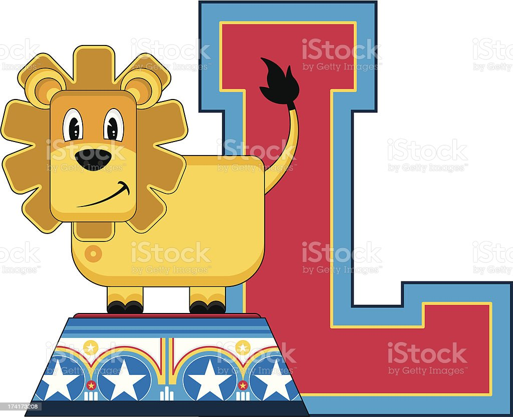 Lion on Podium Learning Letter L royalty-free stock vector art