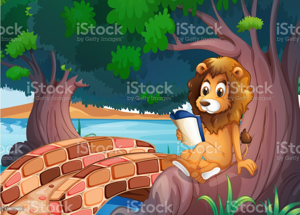 lion reading a book above the root of  big tree royalty-free stock vector art