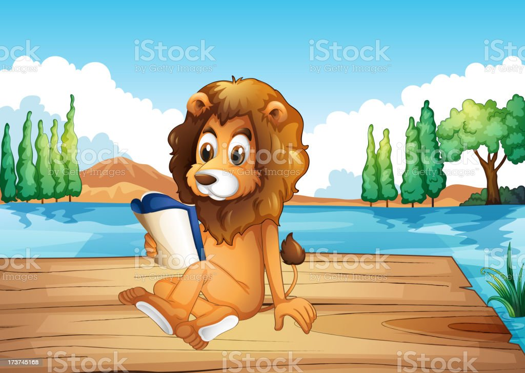 Lion reading a book seriously royalty-free stock vector art