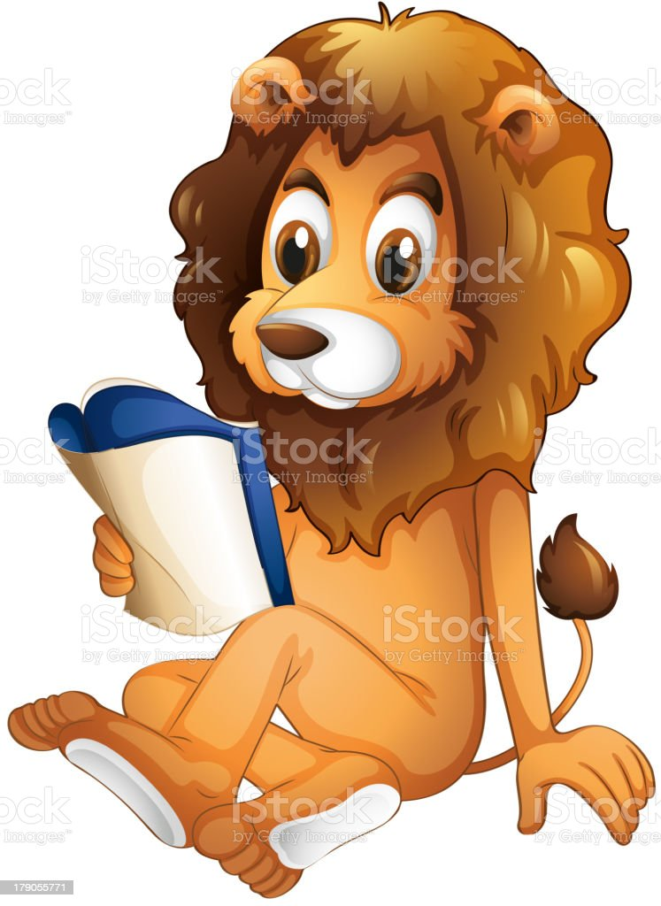 lion reading a book vector art illustration