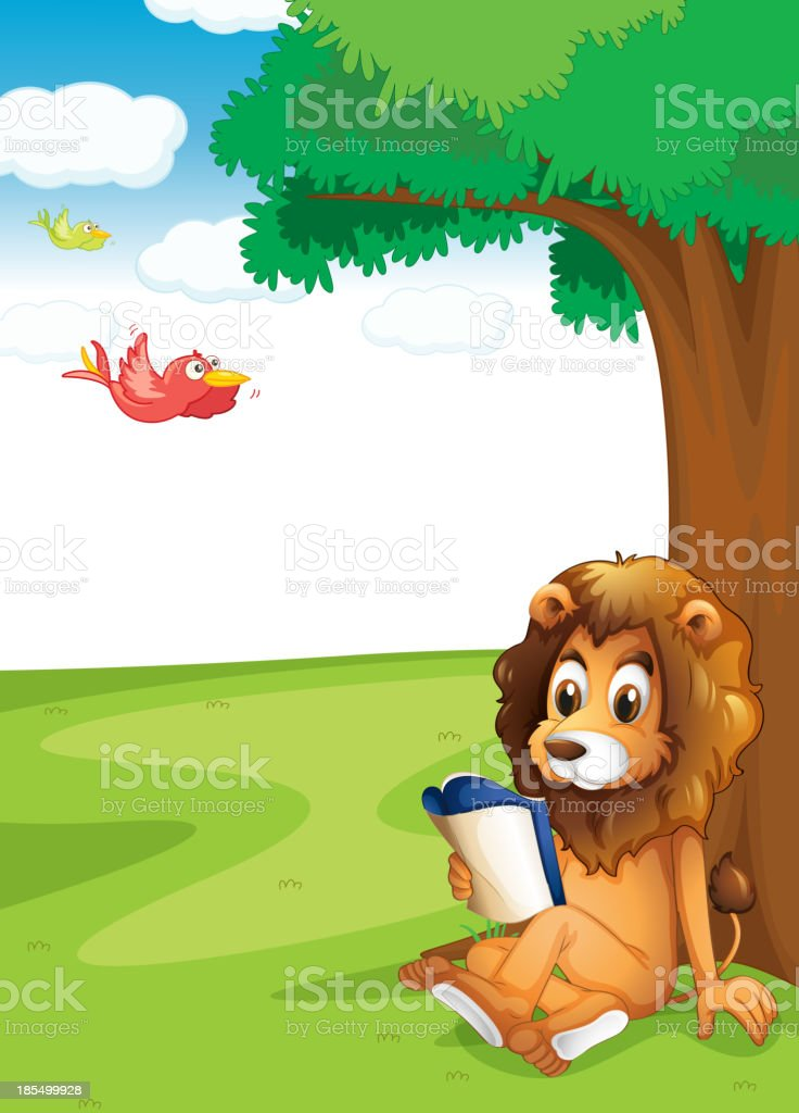 lion reading under the tree royalty-free stock vector art