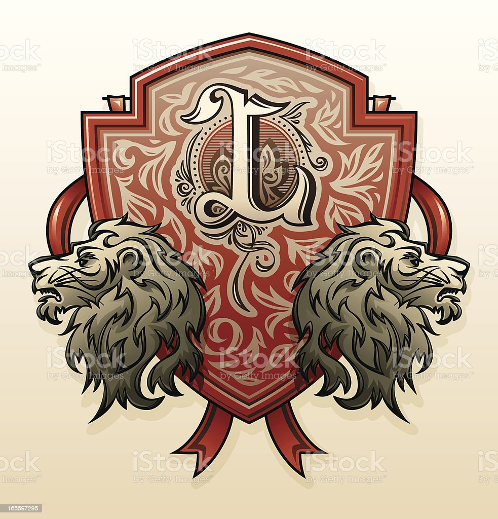Lion Shield / Heraldry Series royalty-free stock vector art