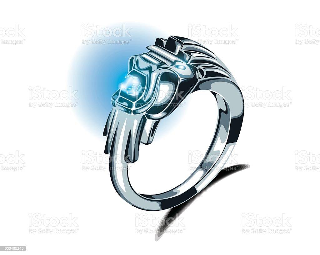 Lion Silver Ring Turquoise Gemstone Vector vector art illustration