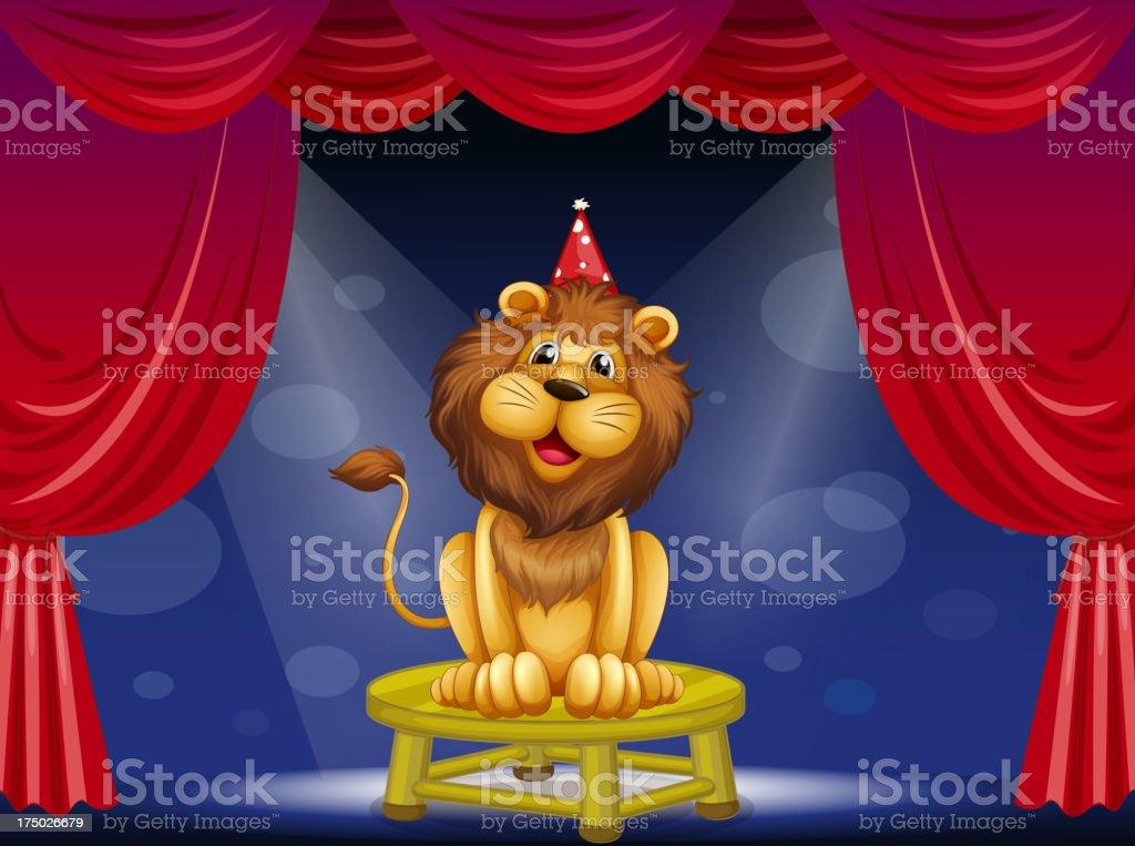 lion sitting above a round table royalty-free stock vector art