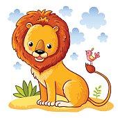 Lion sitting on a sandy meadow.
