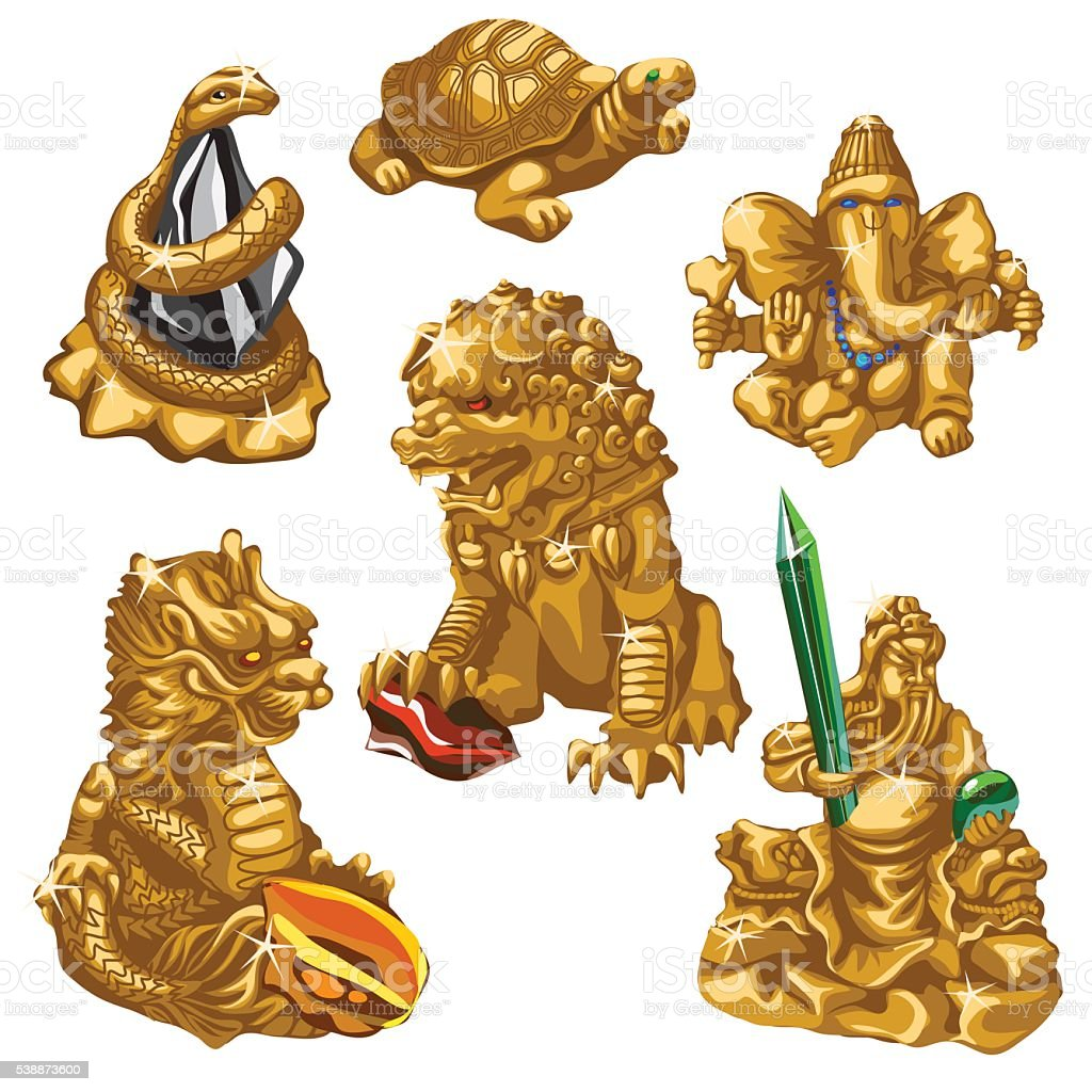 Dragon, snake, Poseidon and other symbols of worship, six gold...