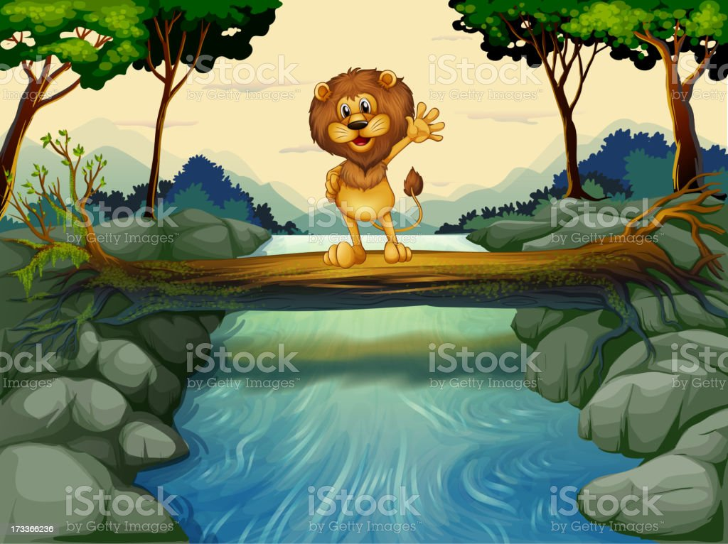 lion standing at the trunk above  flowing river royalty-free stock vector art