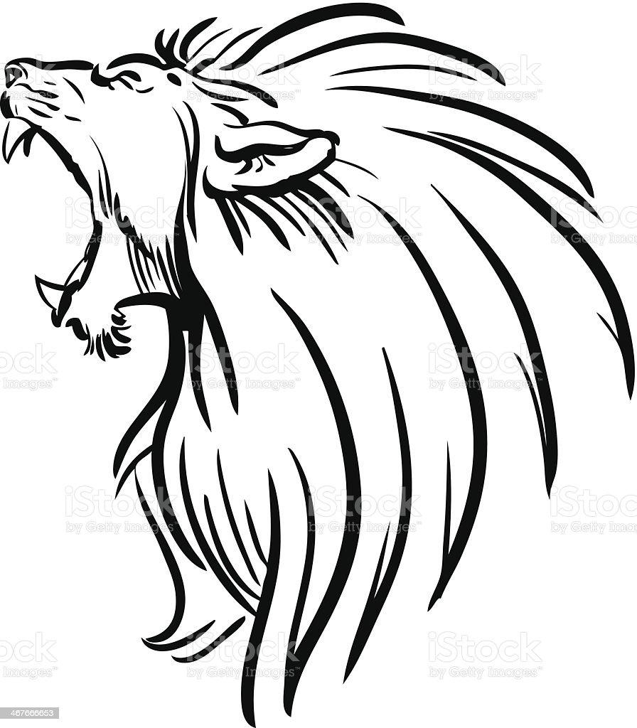 Lion roar line drawing