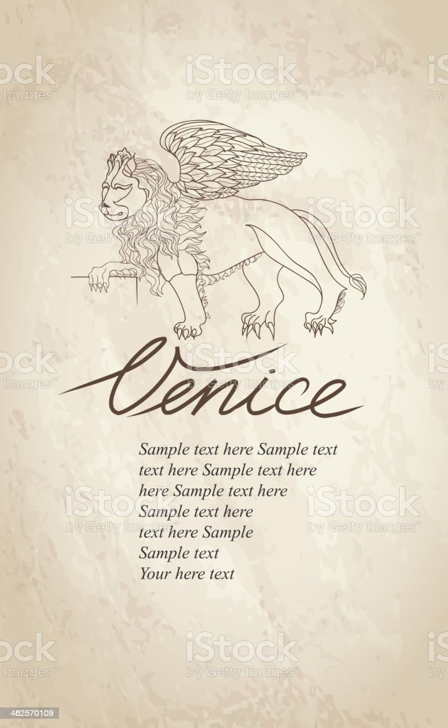 Lion. Venice label. vector art illustration