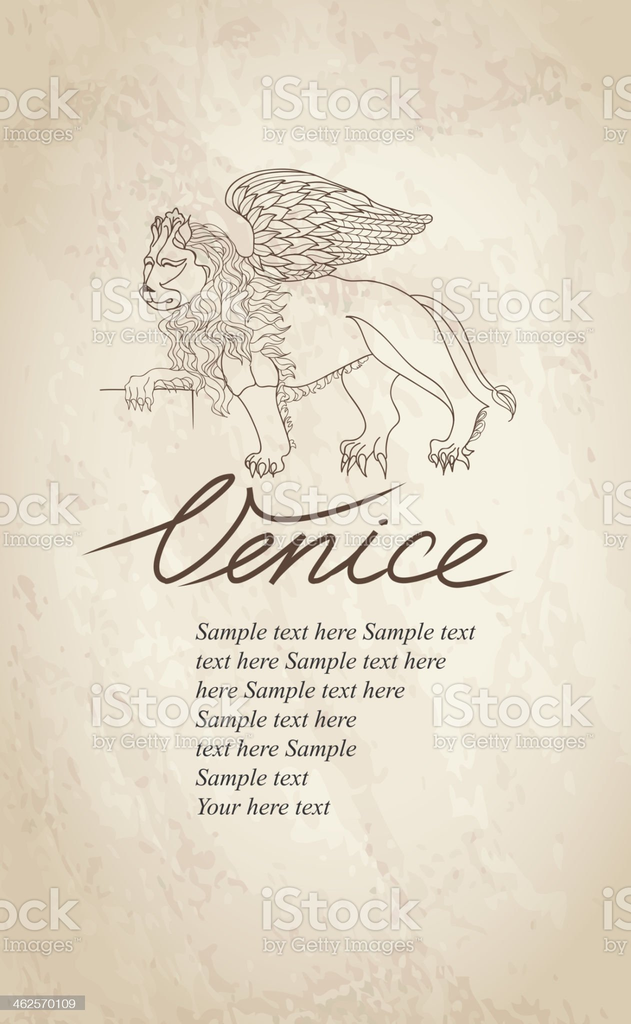 Lion. Venice label. royalty-free stock vector art