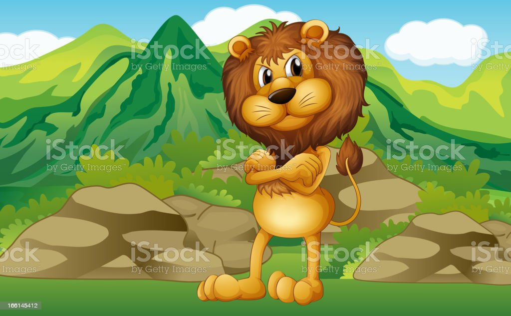 Lion with mountain view at his back royalty-free stock vector art
