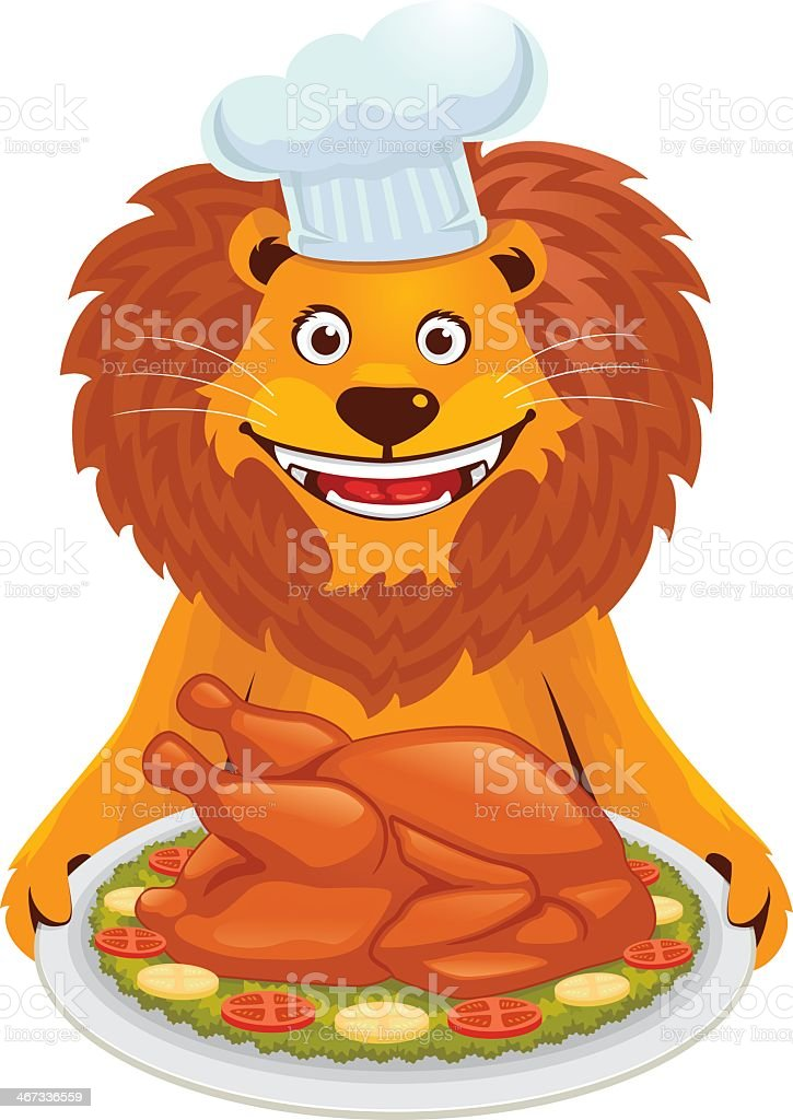 Lion With Roasted Turkey royalty-free stock vector art