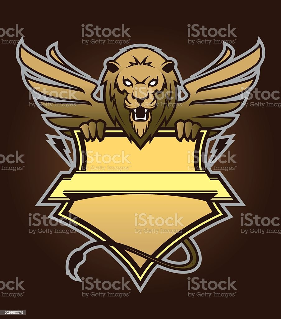 Lion with shield. Design element vector art illustration
