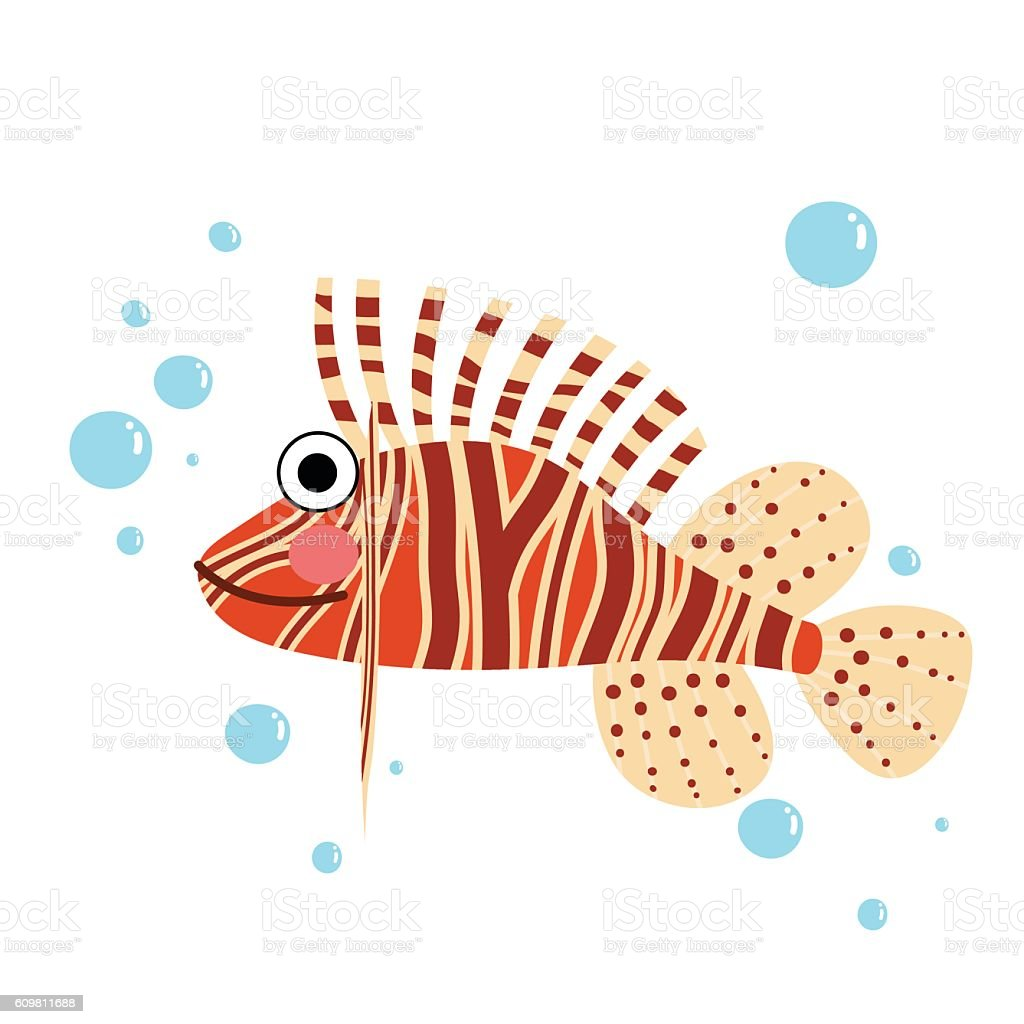 Lionfish side view animal cartoon character vector illustration. vector art illustration