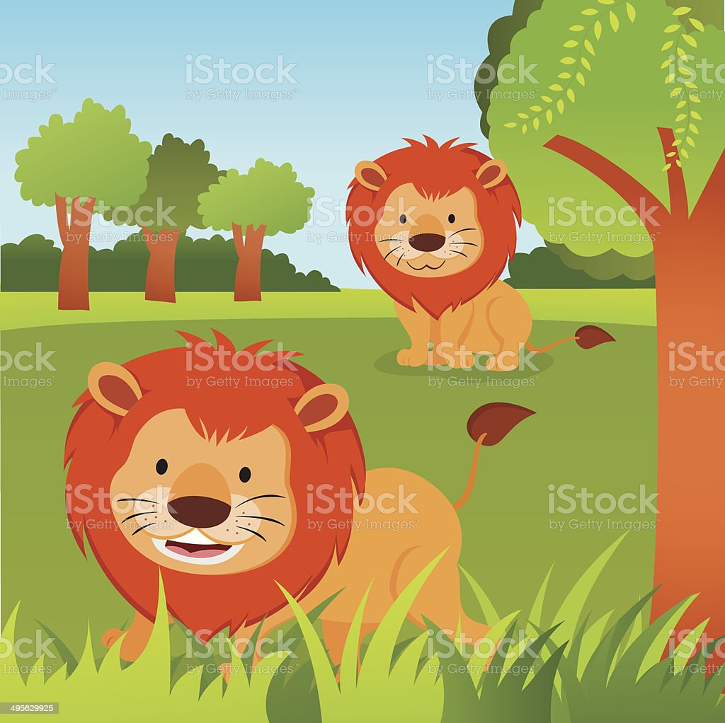 Lions in the jungle royalty-free stock vector art