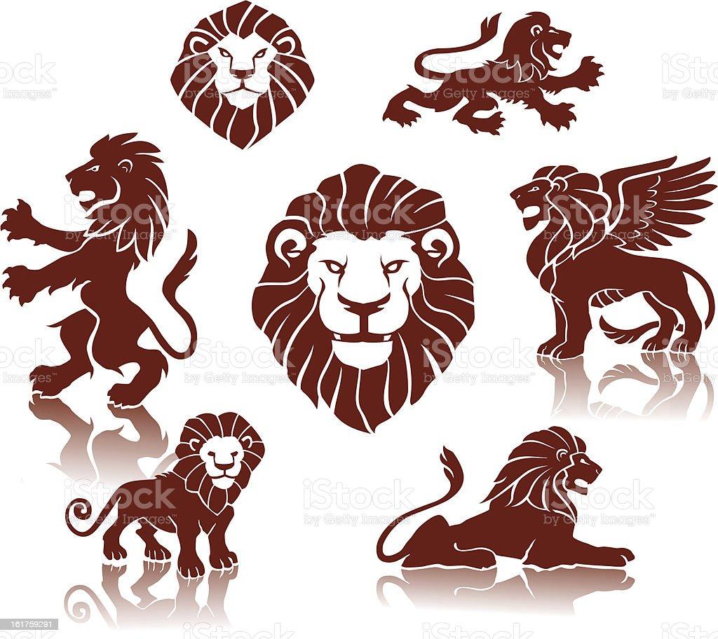 Lions Silhouettes set vector art illustration