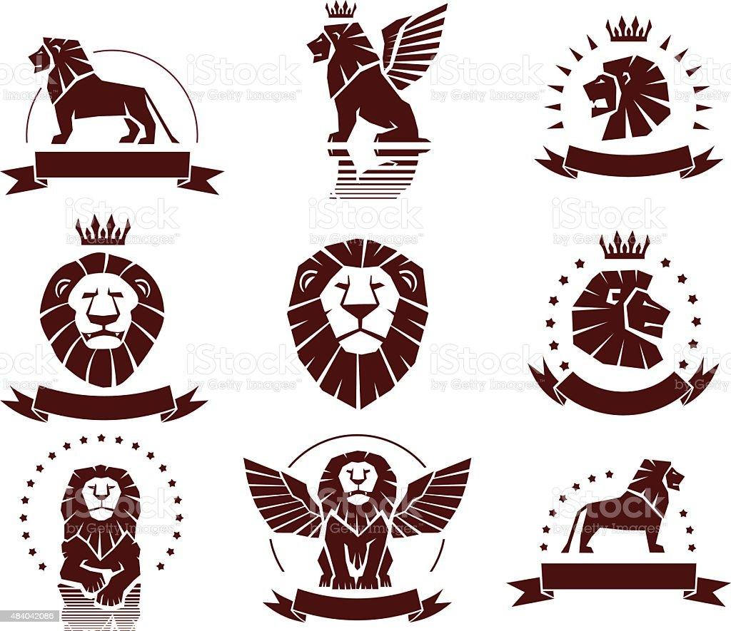Lions Simple Emblems Set vector art illustration