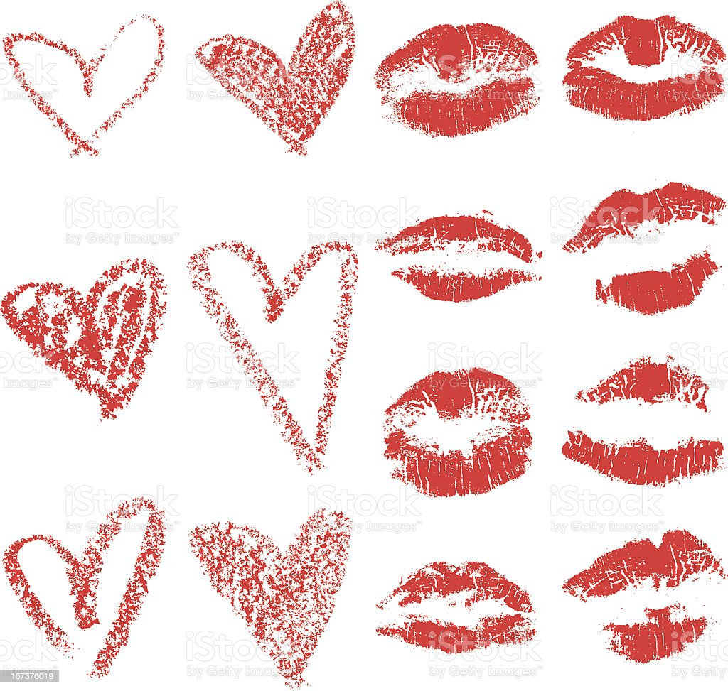 Lips and Hearts Set vector art illustration