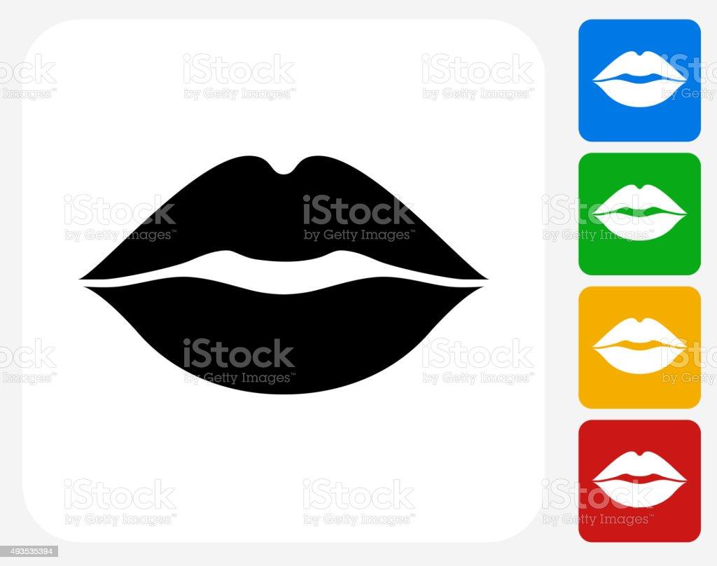 Lips Icon Flat Graphic Design vector art illustration