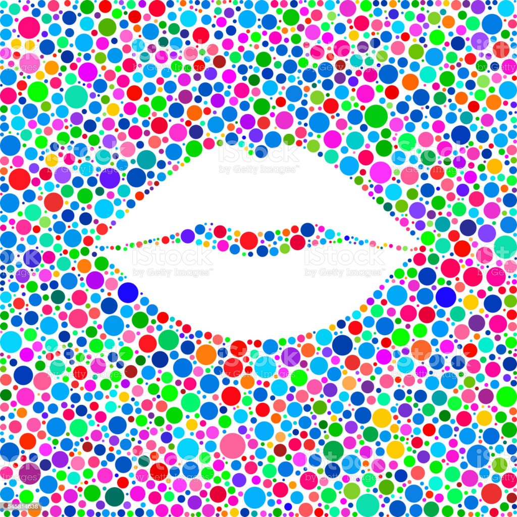 Lips Icon on Color Circle Background Pattern vector art illustration