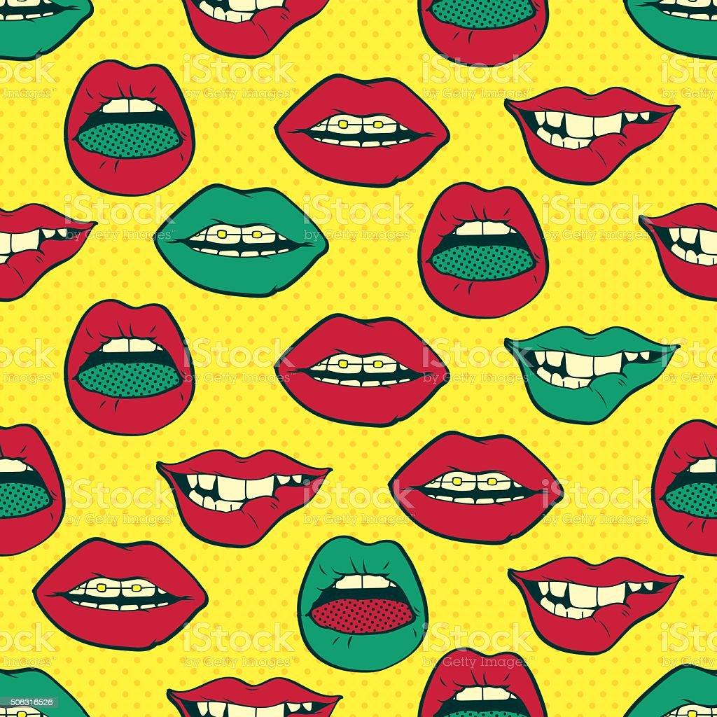 lips pop art seamless pattern stock vector art 506316526. Black Bedroom Furniture Sets. Home Design Ideas