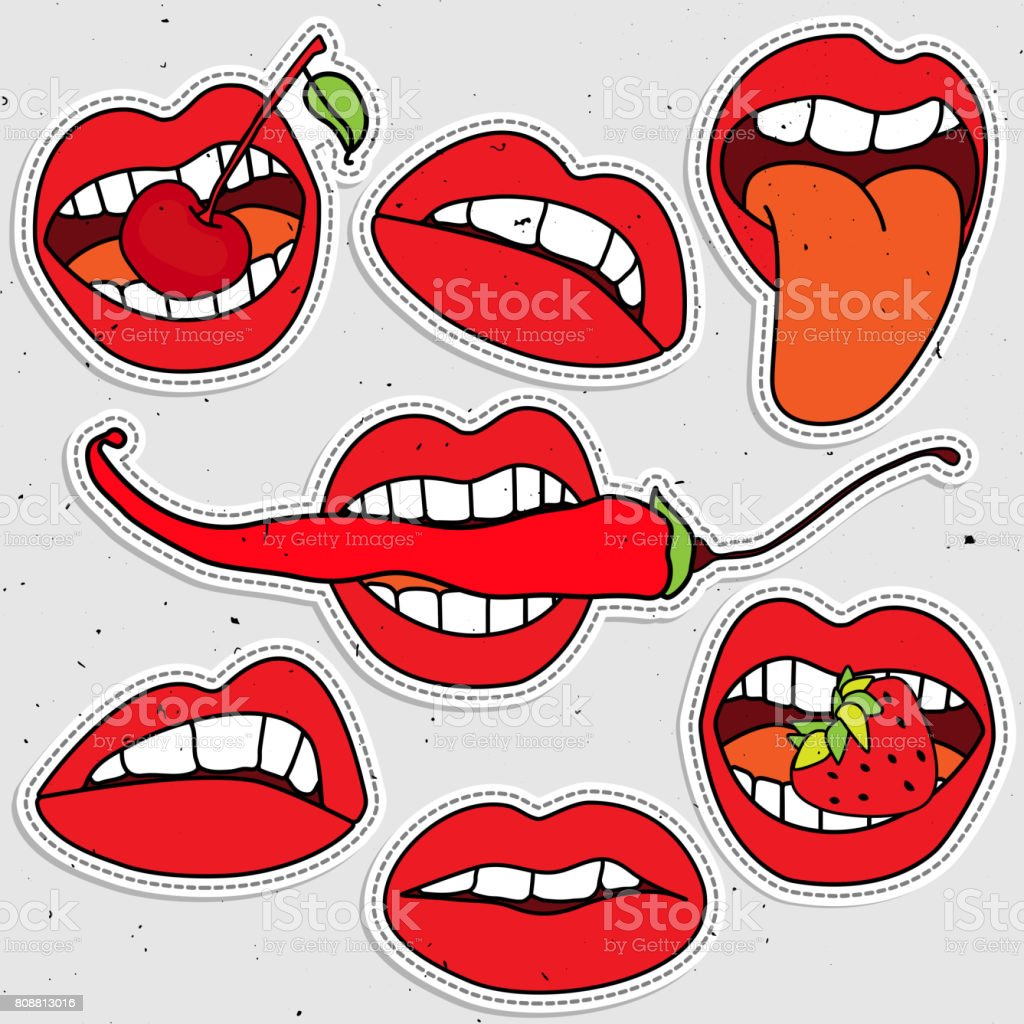 Lips sticker collection, sexy lips with strawberry, berry, red pepper. Pop art lips vector art illustration