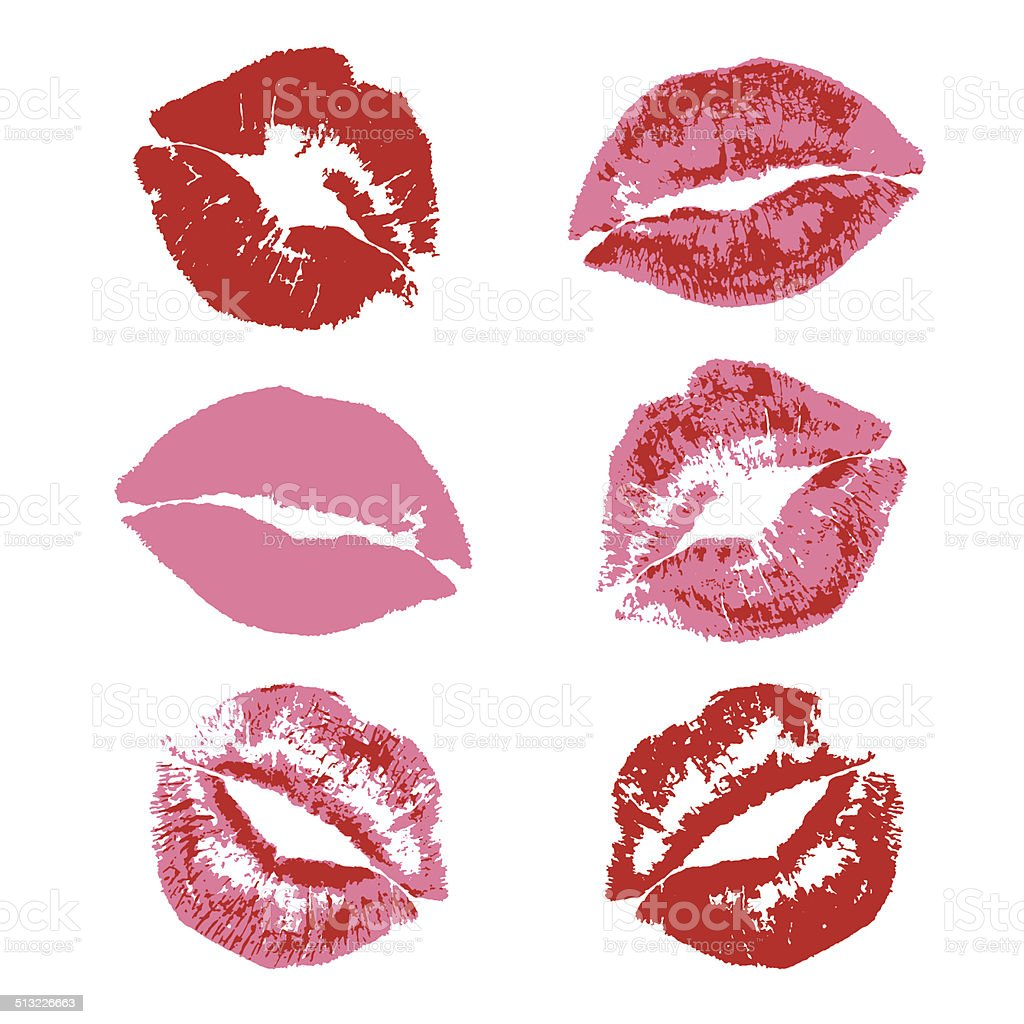 Lipstick kiss print vector art illustration