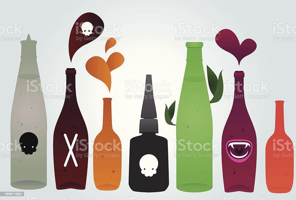 Liquid poisons vector art illustration