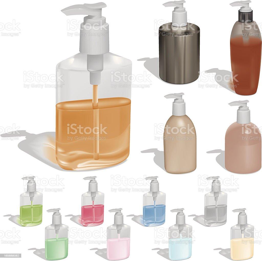 Liquid Soap in Pump Bottles royalty-free stock vector art