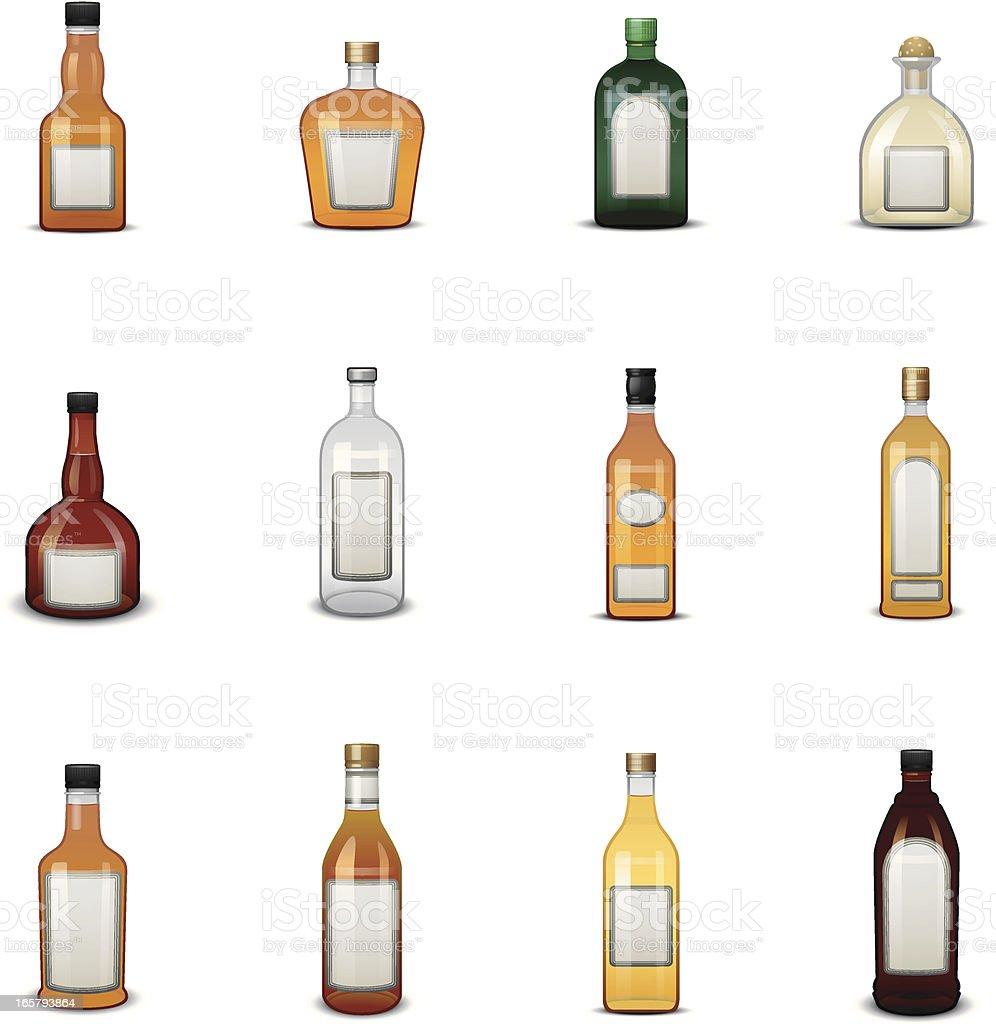 Liquor Bottle Icons w/ Labels vector art illustration
