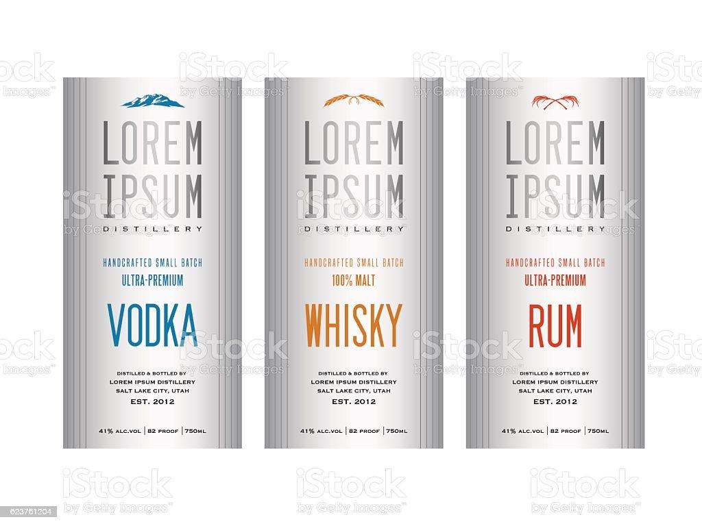 liquor bottle label designs for vodka, whiskey and rum vector art illustration