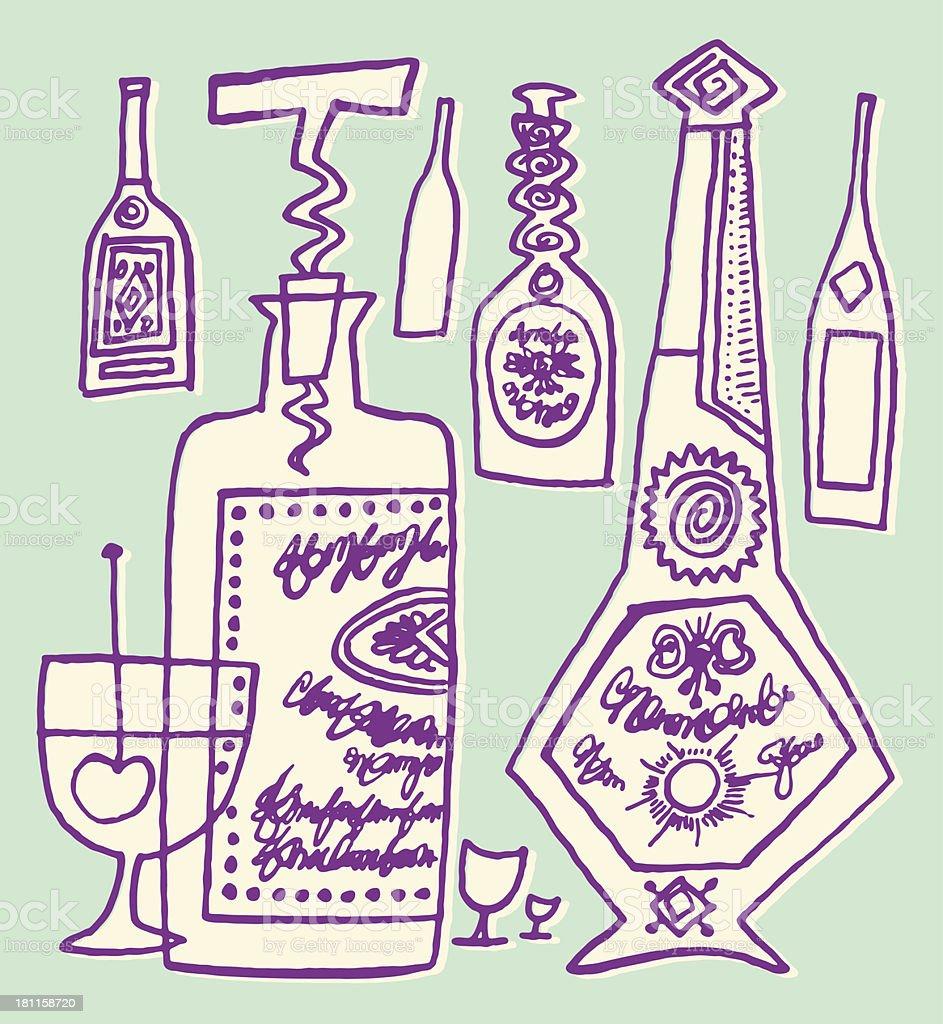 Liquor Bottles and Glass vector art illustration
