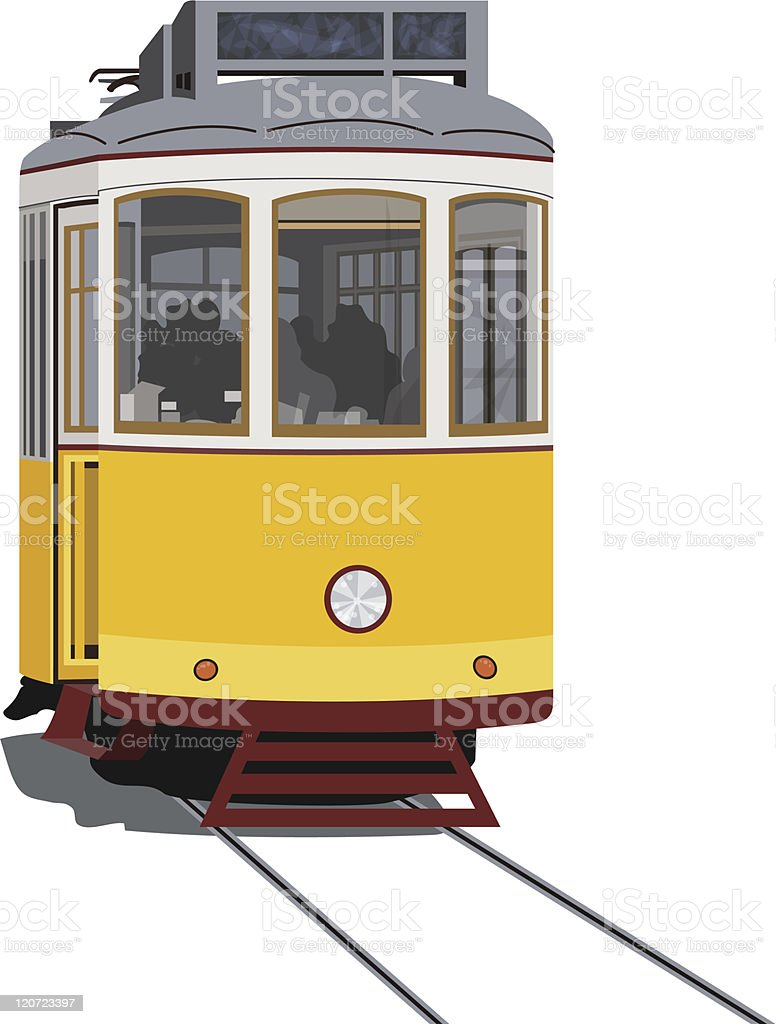 Lisbon tramway vector art illustration