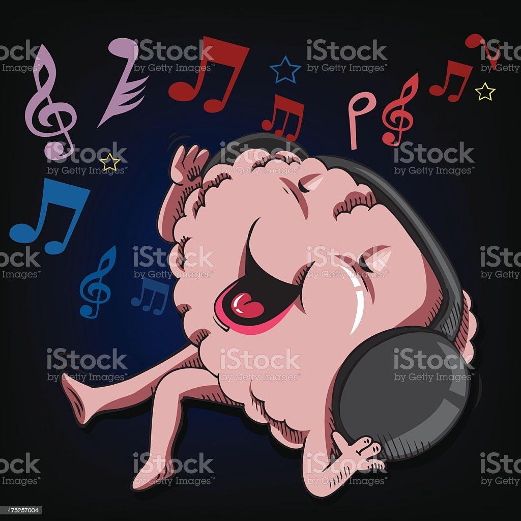 Ascoltare e canta il cervello illustrazione royalty-free