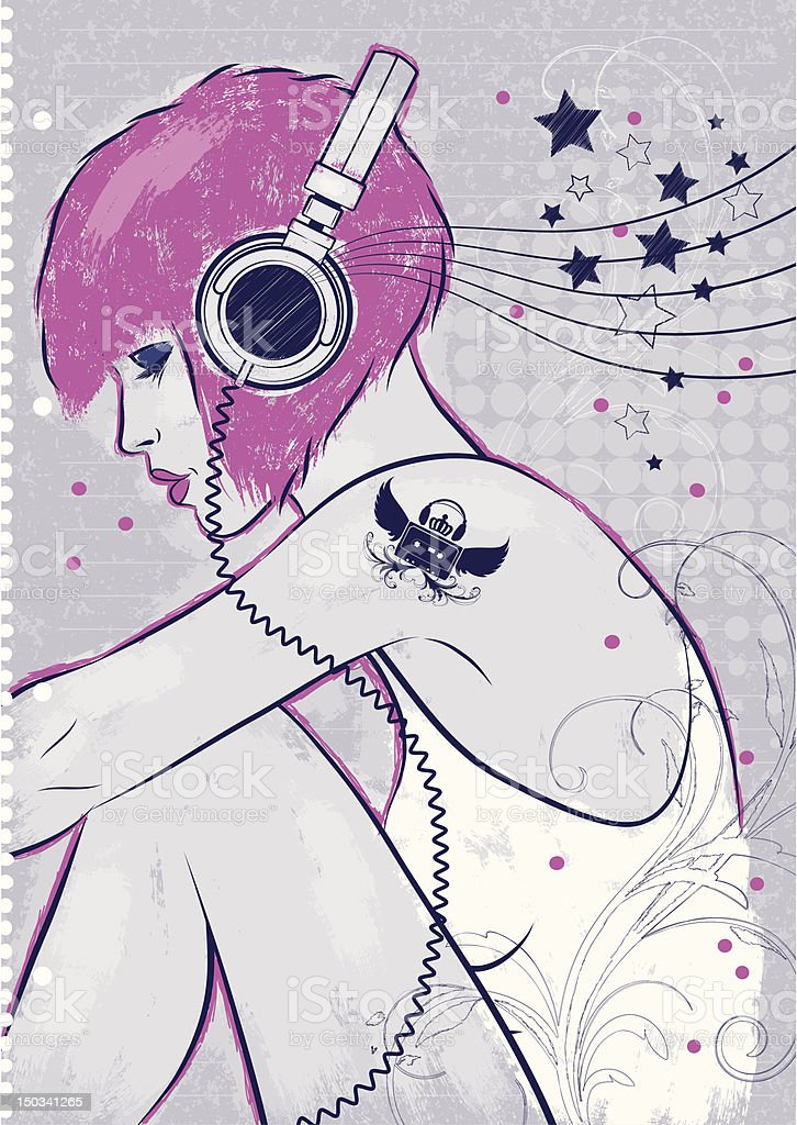 Listen to the music vector art illustration