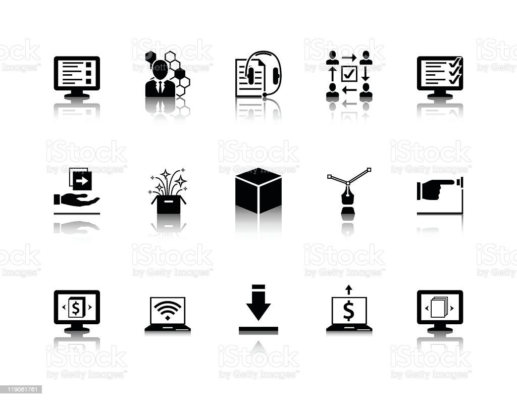 Lists of a black series of product creation icons vector art illustration
