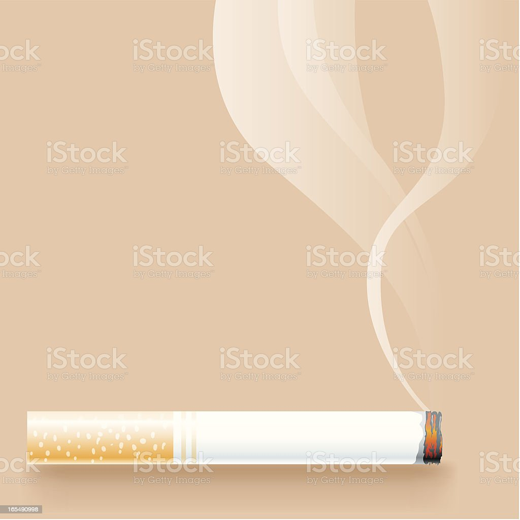 A lit cigarette with smoke on a beige background vector art illustration