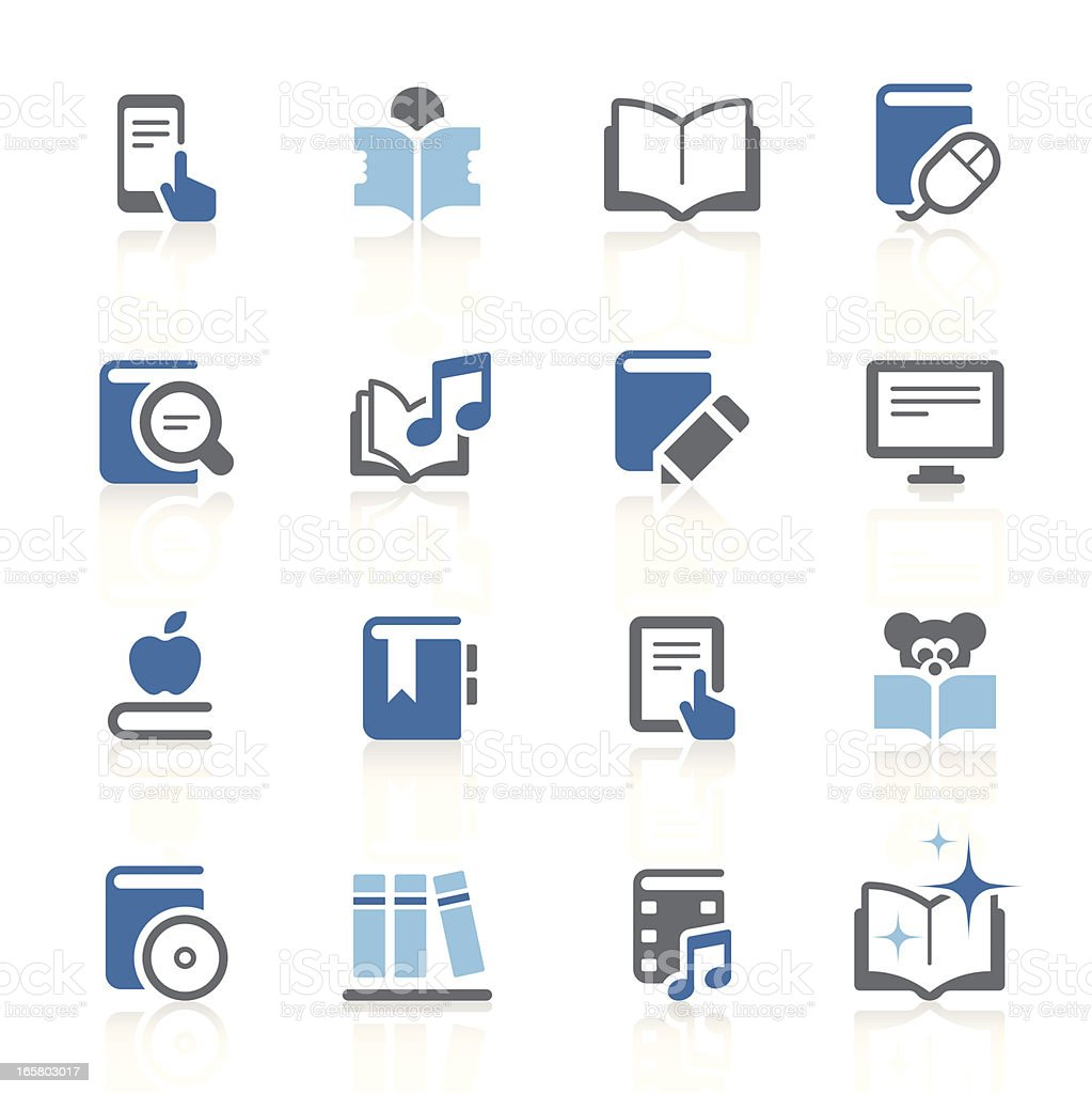 Literature and eBook icons  | azur series royalty-free stock vector art