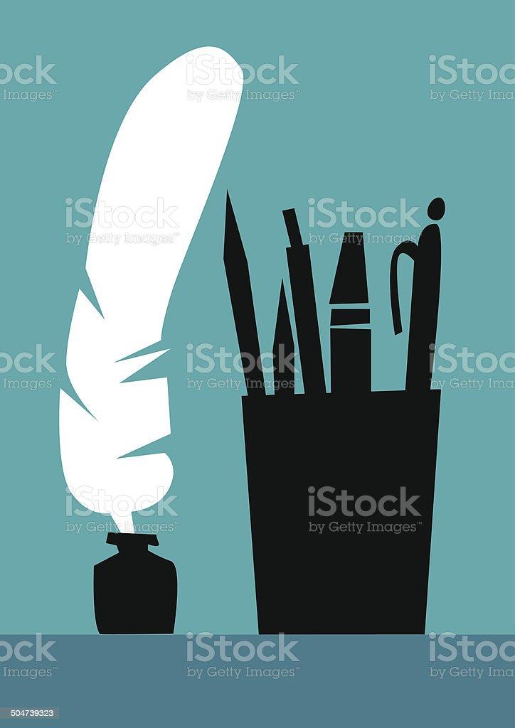Literature, silhouette pen, pencil, pen and marker. vector art illustration