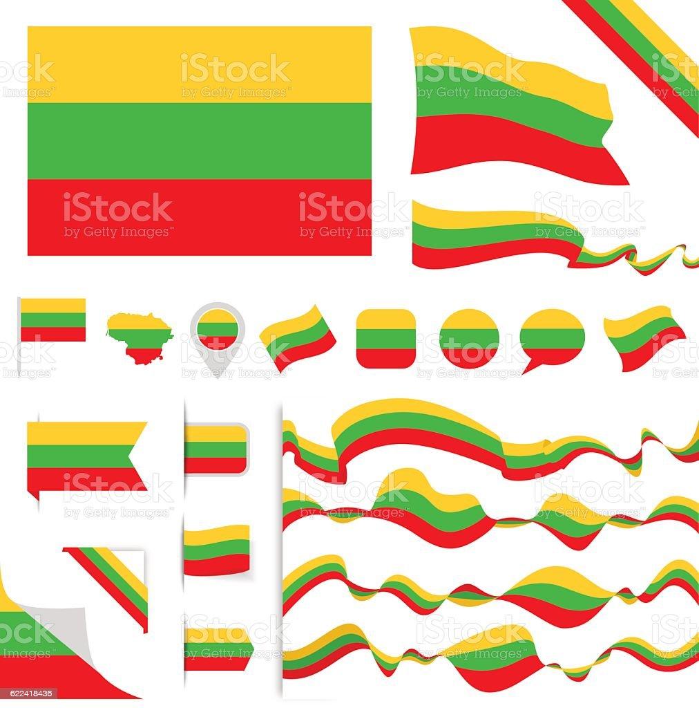 Lithuania Flag Set vector art illustration