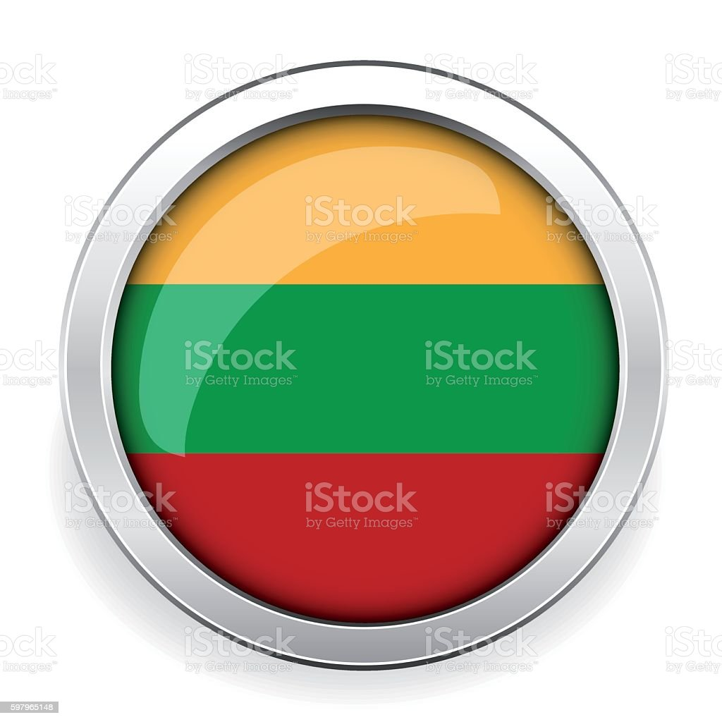 Lithuania flag silver button vector art illustration