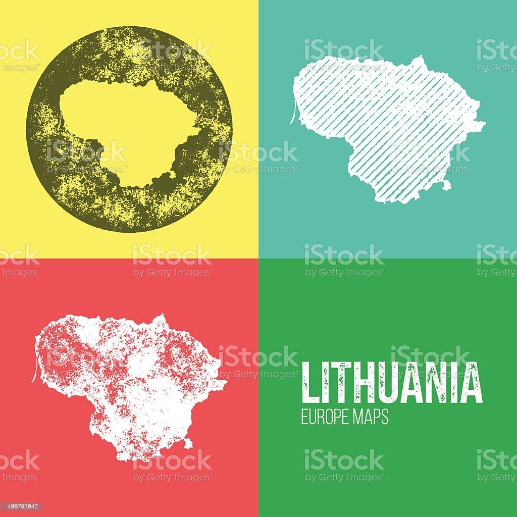 Lithuania Grunge Retro Map vector art illustration