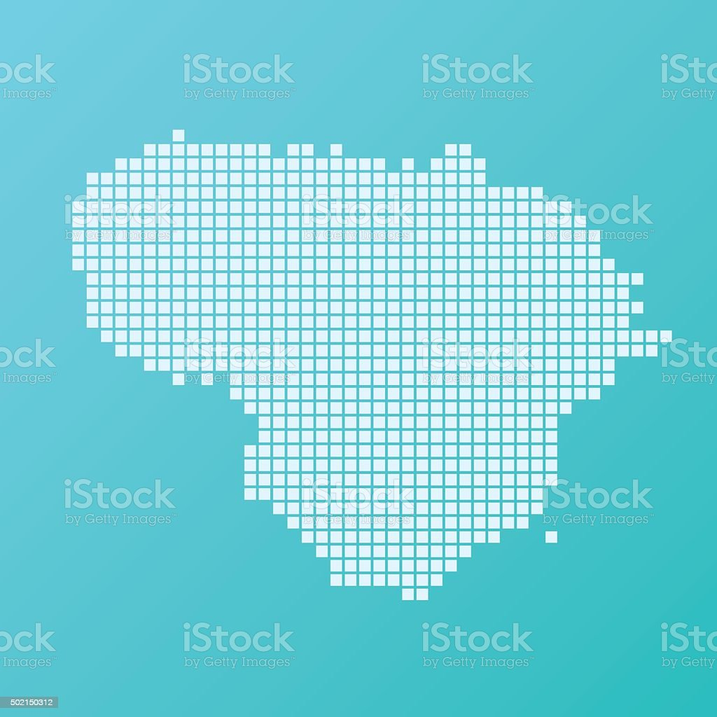Lithuania Map Basic Square Pattern Turquoise vector art illustration